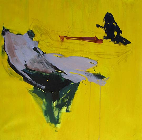 Yellow Mood man on a canoe in a yellow mood' - 40x40cm - manuela furlan